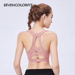 c208d57f68 Sevencolorfit High Impact Sports Bra Seamless Women Padded Push Up Workout  Active Wear Fitness Gym Yoga Sport Bras Crop Tank Top