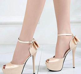 Canada Luxe femmes designer pompes lumière or rouge noeud papillon satin chaussures de mariage plate-forme mince talons hauts 12cm 14cm taille 34 à 39 cheap light platform Offre