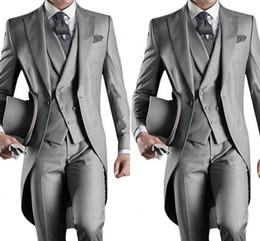 Argentina Nuevo Slim Fit Estilo de la mañana Novios Tuxedos Solapa Traje de hombre Azul marino Groomsman / Best Man Boda / Trajes de baile (chaqueta + pantalones + chaleco) HY6019 supplier new styles for men suits Suministro