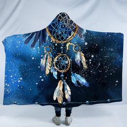 penas de águia Desconto Dreamcatcher flanela com capuz Blanket Pena Azul Impresso Cobertor Boho Wearable cobertor Águia Colchas
