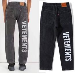 Pantalones de sarga online-Vetements Jeans Hombres Mujeres Confecciona ropa Streetwear Old Broken Skinny Jean Jeans rasgados para hombre Pantalones de marca Homme Vetements Jeans
