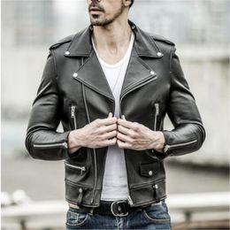 casacos de couro macio dos homens Desconto Frete grátis. Marca new black mens jaqueta de pele de carneiro. Motociclista clássico macio genuíno casaco de couro. Moda plus size estilo jaquetas finas