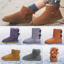 Botas de invierno clásico corto online-UGG Boots uggs Mujer Niña Australia Botas Clásico Bailey Bow Tobillo Rodilla Corto Medio Diseñador Alto Invierno Botas de nieve Botón de cristal Bling Bota Tamaño 36-41