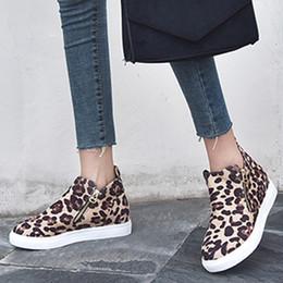 zíper com zíper Desconto Leopard Botas Mulheres Casual Plano Zipper Plus Size sapatos único 2019 Estudantes Outono Inverno Running Shoes mulher zapatos de mujer