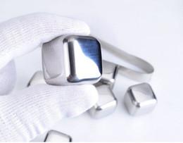 Acero inoxidable cubitos de hielo glaciar online-100 unids / lote DHL Fedex Envío Gratis Acero Inoxidable Piedras de Whisky Cubitos de Hielo Soapstone Glacier Cooler Stone KKA7240