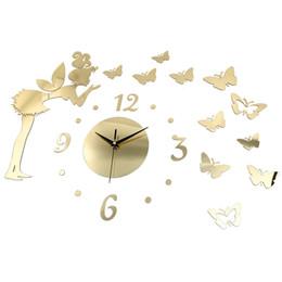autocollant elf Promotion Papillon Elf Effet Miroir Autocollant DIY Horloge Murale Décoration