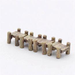 миниатюрный садовый мост Скидка 3 шт./компл. деревянный мост миниатюры сказочные фигурки смолы бонсай микро пейзаж DIY ремесла сказочный сад украшения
