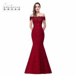 Vestidos de noche largos precios baratos online-Precio barato Elegante Con cuentas de cristal Rojo Royal Blue Sirena Vestidos de noche largos 2019 Prom vestido de fiesta Robe De Soiree Longue Y19051401