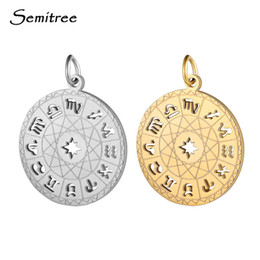 Tierkreis stahl anhänger online-Semitree 12 Zodiac Constellation Edelstahl-Anhänger-Charme-DIY Halskette, das Schmuckhandwerk Zubehör