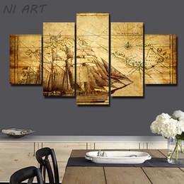 Decorazione della casa Barca a vela Abstract Impressionista Tela Dipinti ad olio 5 Pezzo Pittura murale su Art Picture Immagini No Frame da