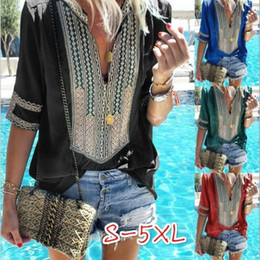 294fa96704 Moda para mujer camisa corta V Collar de seis colores Big Code Hot Summer  blusa suelta estilo étnico ropa para el hogar 23 5lq E1 blusas étnicas  promoción