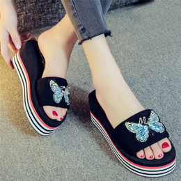 def3f9d750d13 2019 Summer New Bling Butterfly Wedge Slippers Women Shoes Female Flip  Flops Beach Ladies Flat Platform Striped Shoes  40 ladies slippers wedges  outlet
