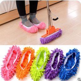 Calzature scarpe online-Creative Lazy Mopping Shoes copre Fashion Foot Socks Microfibra Mop Floor Cleaning Mophead Floor Polishing Pulizia pulitore di polvere TTA61