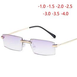 c00b84d11 Luxo Diamante Cutted Estilo Miopia Óculos Homens Anti-azul Luz Sem Aro  Óculos de Olho Curto-visão -1 -1.5 -2 -2.5 -3 -3.5 -4.0