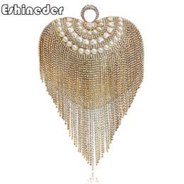 Borse da sposa in rilievo Borse da sposa Piccola borsa da sera da donna con frange in nappa con manico in oro e diamanti da abiti da sposa per designer di seta fornitori