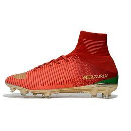 Nouvelle chaussure de foot football en Ligne-Nouveau 2018 CR7 Mercurial Superfly V FG chaussures de football Chaussures de soccer pour hommes Crampons de enfants Cleats assassin chaussures spikes Ronaldo Transactio