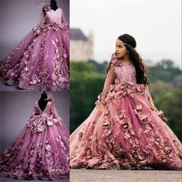 encaje tul chicas rosa Rebajas 2019 Vestido de fiesta rosado Vestidos de niña de flores Manga larga Hnad Made Flores de encaje de tul Princesa Fiesta de cumpleaños Chica Chica Vestido Formlal