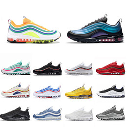 NIKE AIR MAX 97 Laser Fuchsia triple white mens running shoes LONDON SUMMER OF LOVE black Silver Bullet South Beach Men women sports Sneakers 36 45