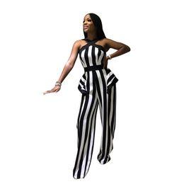 Jumpsuit listrado preto branco on-line-Primavera Verão Mulheres Macacão Bodycon Playsuit Bodysuit Macacão Macacão Plus Size Preto Branco Listrado Macacões Casuais