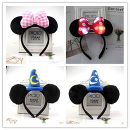 Linda diadema negra online-Lindo caliente venda del partido del rendimiento del ratón arco de la venda del oído negro accesorios para el cabello de Navidad del envío 2pcs