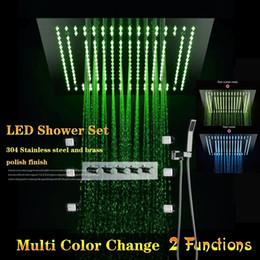"""Levou incorporado chuveiro on-line-16 """"chuveiro de LED cabeça de chuveiro conjunto 6 jatos de massagem corpo embutido LED teto 4 maneiras escondidas chuveiro conjunto"""