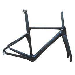 frame da bicicleta da estrada do carbono super Desconto NENHUM quadro de estrada de fibra de carbono de logotipo Di2Mechanical bicicleta de corrida quadro de estrada de carbono + garfo + selim + fone de ouvido bicicleta matt / brilhante