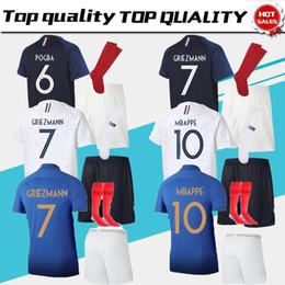 kit de venta al por mayor Rebajas Maillot de Foot Maillot de fútbol para adultos dos equipos de 2 estrellas Equipe de frances 2018 hombres adultos kits de fútbol Camisetas de fútbol