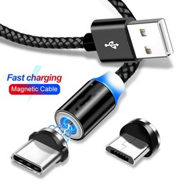 usb charger magnet Promo Codes - 1M 360 Degree 3 In 1 Magnetic Cable LED Nylon Braided Wire Magnet Charger Type C android Ip Micro Cable