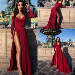 f2f8a9c307db lunghi vestiti da camicia fessure Sconti Sexy Borgogna A-line Prom Dress  2019 Manica Lunga