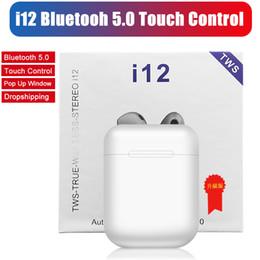 2019 apfel kopfhörer kristall-box i12 TWS Touch Kabellose Ohrhörer Doppelte V5.0 Bluetooth-Kopfhörer für Stereo-Ohrhörer Kabellose Headset-Ohrhörer mit Touch-Steuerung SIRI