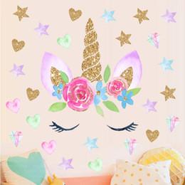 decalques feericamente da parede adesivos Desconto Venda quente Romântico fada Unicorn Estrelas Adesivos De Parede Para Meninas Quarto Flores Decalques de Parede Decoração presente das crianças