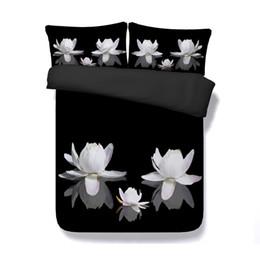edredom floral branco preto Desconto Lótus Floral Capa de Edredão 3 Peça Meninas Conjunto De Cama Com 2 Travesseiros Shams Flores Cama Capa 3D Colcha Design Asiático Branco Rosa preto colcha