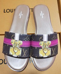 Wholesale ust have Marca Lock It Mule Damier Azur Zapatilla de lona Diseñador Pale Pink Marrón Lether Recorte Sandalia Tamaño