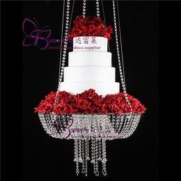 Cristais de peça central on-line-18 polegada Estilo Lustre de Cristal Drape Suspenso Swing bolo stand rodada bolo pendurado carrinhos peça central do casamento
