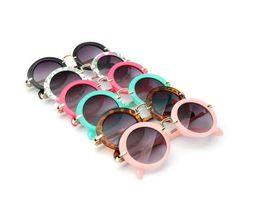 kinder runden brillen Rabatt scherzt Retro- Sonnenschutz-Säuglingsschutzbrillenbrillen sunglass Jungen-Mädchen-Kind-runde Sonnenbrille Eyewear 6 Farben FJ308