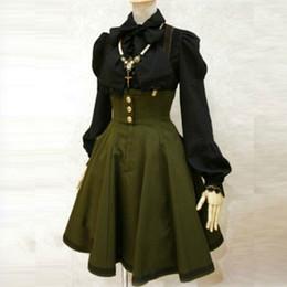 Verde vestito generale online-Saldi Apperloth Abito gotico donne vita alta vestiti generali verde militare indietro vestito pieghettato croce abiti A-Line