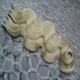 İnsan saç uzantıları vücut dalga bant 40 adet bakire brezilyalı dalga saç PU Cilt atkı bandı on / içinde remy saç uzantıları # 60 Platin Sarışın nereden