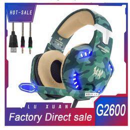 KOTION EACH G2600 Camuflaje Gamer Auriculares estéreo para juegos con micrófono Micrófono 3.5mm Audio Splitter Auriculares para juegos de computadora para PC desde fabricantes