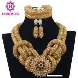 2020 gros bijoux de fantaisie en or Mode Champagne African Gold Costume Set Bijoux Perles mariage africains nigérianes Ensemble de bijoux Chunky Livraison gratuite WA076 gros bijoux de fantaisie en or pas cher