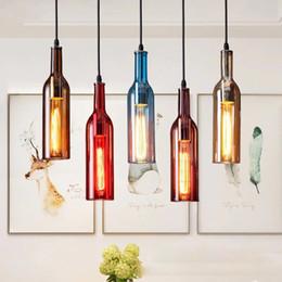 lampe d'hôtel chandeliers Promotion Bouteille de vin lustre lampe E27 verre pendentif vintage pour café bar salon restaurant maison décor de noël led lumière