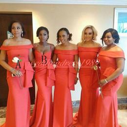 Laranja casamento dama de honra vestidos baratos on-line-Simples cetim peplum dama de honra vestidos de sereia baratos orange maid of honor vestido de festa à noite vestidos Formal vestido de baile de casamento