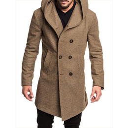 ZOGAA Fashion Mens Long Trench Coat Elegant Plus Size Solid Color Lapel Collar Long Sleeve Loose Overcoat Jacket Men Clothes