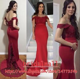 Vestido de renda vermelha para gravidez on-line-Appliqued Lace Dark Red Grávida Vestidos de Baile Sereia 2019 Cetim Fora Do Ombro Vestidos de Noite Formais Low Back Vestido de Festa Robe de soirée