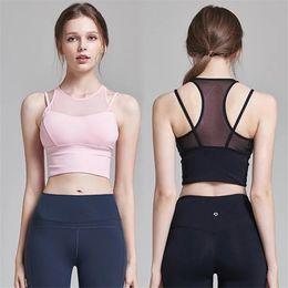 8bdaaa88ef Professional Women Sports Bra Shakeproof Mesh Yoga Bra Workout Gym Fitness  Female Sport Tank Top Running Vest Underwear