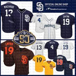 Venta al por mayor online-San Diego 13 Manny Machado Padres Camisetas de béisbol 50vo parche 4 Wil Meyers 19 Tony Gwynn Azul Blanco Base fresca al por mayor Venta barata