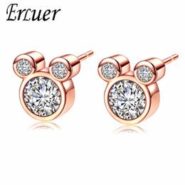 ERLUER Mickey Stud orecchino per le donne Ragazze Zircone cristallo da sposa Moda oro rosa color argento forma mouse orecchini gioielli da mickey gioielli fornitori