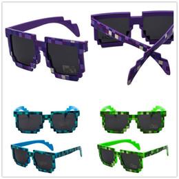gafas de moda para adultos Rebajas Nuevo Pixel Mosaico Adultos Gafas de sol Gafas Unisex Sombras Moda Vintage Cuadrado Enrejado Gafas de sol Gafas de moda Minecr Fiesta Prop A52906