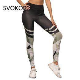 strickgamaschen Rabatt SVOKOR Print Camo Frauen Leggings Polyester Gestrickte Hohe Taille Hosen Sommer Mode Lässig Abnehmen Fitness Legggings Frauen
