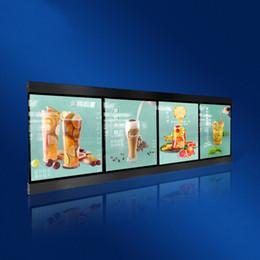 Menú de restaurantes online-60x160 cm Slimline Magnetic LED Menu Boards Restaurante iluminado LED Menu Light Boxes con 4 unids Light Box Units Caja de madera de embalaje