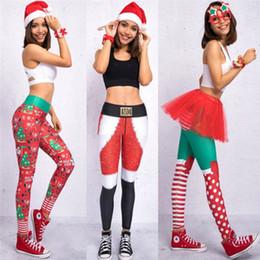 Calças de tintura de gravata feminina on-line-2019 Calças Costumes novo feia de Santa do feriado do Natal Leggings Tights Fino Verde Mulheres Xmas engraçado do partido